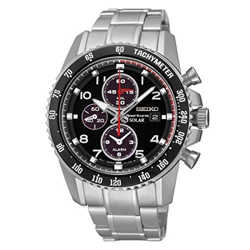 - Seiko Sportura Solar Chronograph Black Dial Stainless Steel Mens Watch SSC271