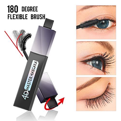 4D Silk Fiber Lash Wide Angle Brush Mascara,Waterproof, Warm water Removable, Dramatic Extension Longer, Thicker, Voluminous Eyelashes, Long-Lasting, Clump-free, Hypoallergenic Formula(Extrem Black)