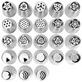 23pcs/set Russian Icing Piping Nozzles Cake Decoration Tips Home Baking DIY Tool Tulip Rose Nozzle Tip