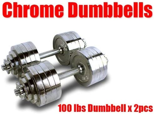 New Pair 200 lbs Adjustable Chrome Dumbbells Weight Set 100 lbs Dumbbell x 2pcs