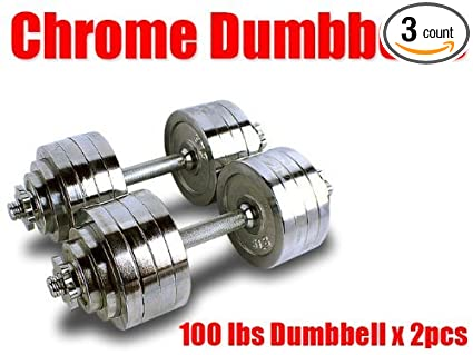 2e6cbf50e4c Image Unavailable. Image not available for. Color  New Pair 200 lbs  Adjustable Chrome Dumbbells Weight Set 100 lbs Dumbbell x 2pcs
