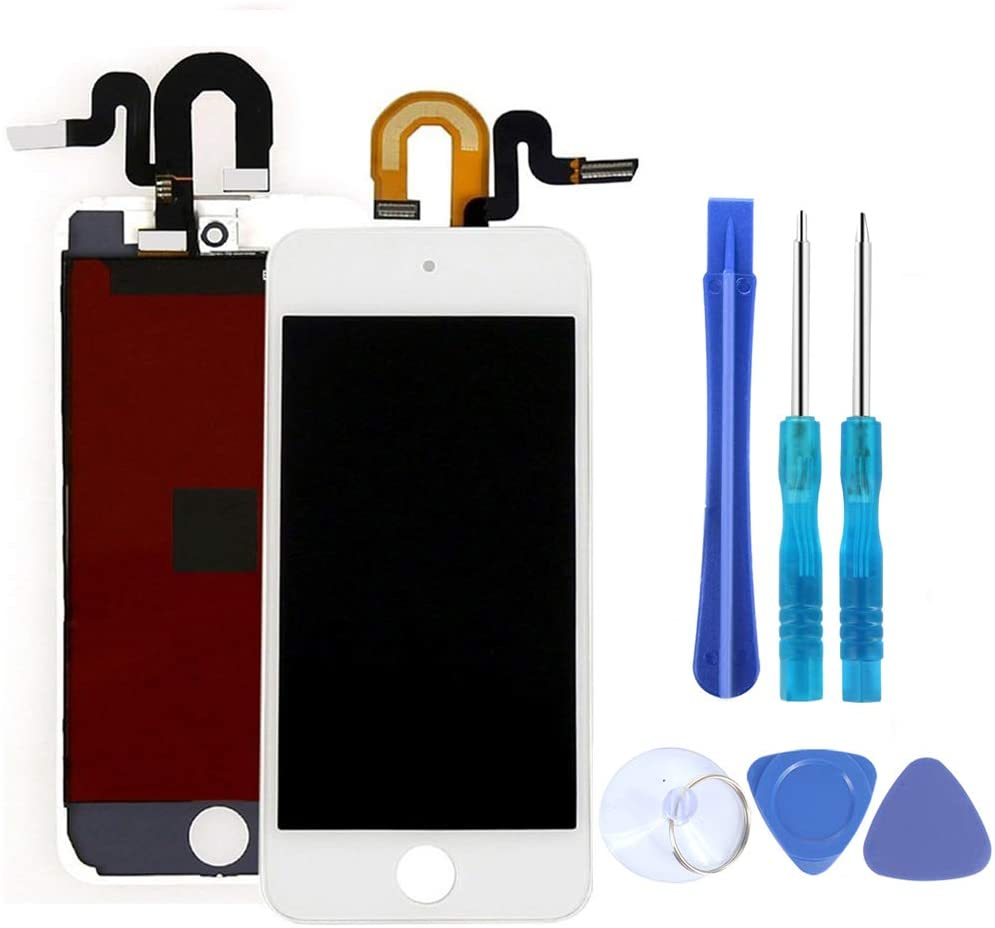 Full Screen Replacement for iPod Touch 5 5th 6 6th LCD Screen The Whole Display Assembly + Free Repair Tools (Touch 5/6/7 White)