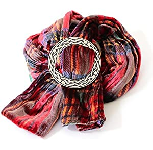 Ladycrow Twisted Purple Tartan Velvet Scarf and Pewter Scarf Ring Gift Set