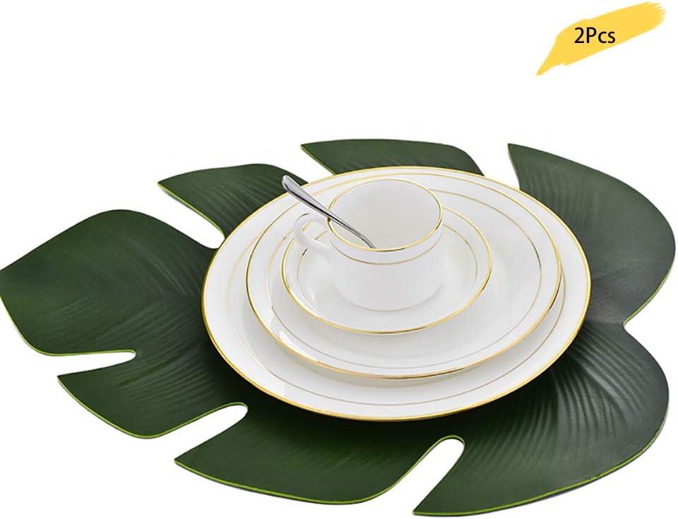 etilene vinil acetato 2 pezzi 6 pezzi a forma di foglia di palma tropicale lulalula Tropical Palm Leaf antiscivolo con isolamento termico per tavolo da pranzo in EVA Tovagliette allamericana impermeabili e oleorepellenti