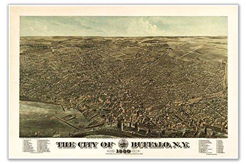 BUFFALO New York Birds Eye View MAP circa 1880 - measures 24