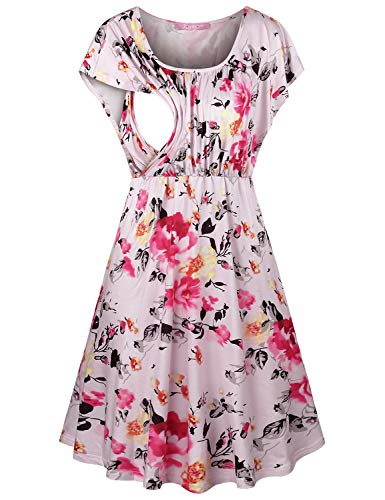 JOYMOM Floral Maternity Dress,Womens Chic Round Collar Flutter Sleeve Nursing Dresses Ladies Trapeze Empire Waist Flare Bresatfeeding Housedress Pregnancy Outfit Pink White Flower M
