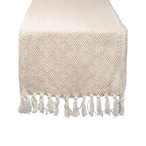 DII Braided Farmhouse Diamond Table Runner, 15 x 72 inches, Stone