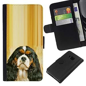 EJOY---La carpeta del tirón la caja de cuero de alta calidad de la PU Caso protector / HTC One M7 / --Cavalier King Charles Spaniel Puppy