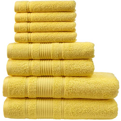 Qute Home Towel Set; 2 Bath Towels, 2 Hand Towels, and 4 Washcloths | Spa & Hotel Towels Quick Dry 100% Turkish Cotton Towel Sets for Bathroom, Shower Towel (Yellow, Towel Set - Set of 8) from Qute Home