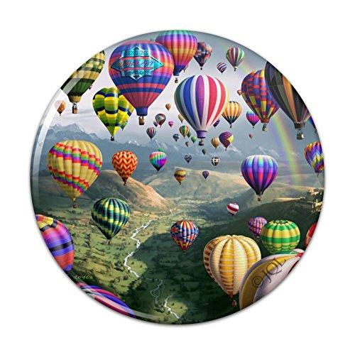 Hot Air Balloons Sky Roads Kitchen Refrigerator Locker Button Magnet - 2.25