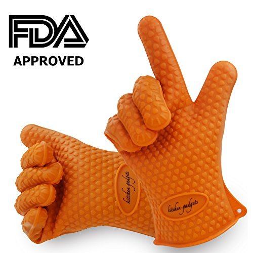 BBQ Gloves,Oven Mitts Heat Resistant,Barbecue Gloves Heat Resistant For Protect Your Hands from Grilling,Baking,Smoking,Cooking-1 Size Fits Most of All(Orange)-FDA Approved Oven Gloves Heat Resistant