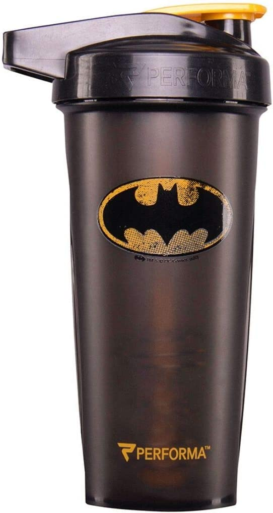 PerfectShaker Performa ACTIV DC Comics & Justice League Series Shaker Bottle, Best Leak Free Bottle with ActionRod Mixing Technology for Your Sports & Fitness Needs! (28oz, Batman)