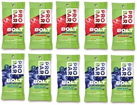 Probar Bolt Organic Energy Chews Bundle Strawberry and Berry Blast - Six of Each Flavor, Box of 12