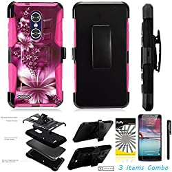 For ZTE ZMAX Pro Z981 /3Items [Clear LCD Film]+Stylus Pen+[Impact Resistance] Dual Layer [Belt Clip] Holster Combo [KickStand] Phone Case Purple Feather Flower - Pink
