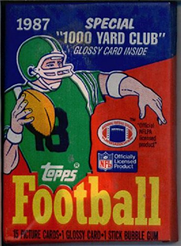 1 Unopened Pack of 1987 Topps Football Cards (16 cards/pack) - NFL Rookie Cards of Jim Kelly, Randall Cunningham, 2nd year Jerry Rice, and more!