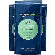 AmazonFresh Fair Trade Organic Sumatra Coffee, Dark Roast, Ground, 12 Ounce, Pack of 3