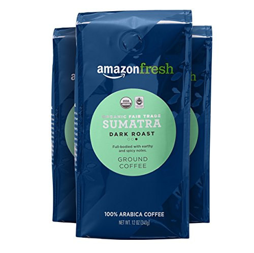 AmazonFresh Fair Trade Organic Sumatra Coffee, Dark Roast, Ground, 12 Ounce, Pack of 3