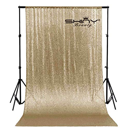 ShinyBeauty Fabric Backdrop Sequin Curtain Backdrop 10ftx10ft Champagne Gold Wedding Photo Booth Happy New Year Curtains Custom Backdrop photograthy Background~M1214