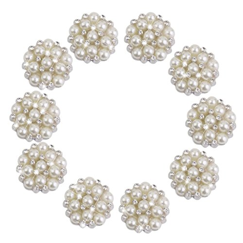 CJESLNA 10pcs Rhinestone Faux Pearl Flower Embellishments Button Flatback (Pearl Flower Button)