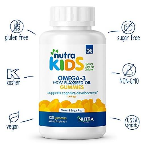 Omega-3-Vegan-Gummies-By-Nutra-Pharm-Pineapple-Orange-and-Strawberry-Flavor-120-Count-Daily-Organic-Multivitamins-for-Kids-GLUTEN-FREE-SUGAR-FREE-VEGAN-KOSHER-HALAL-VITAMIN-SUPPLEMENTS
