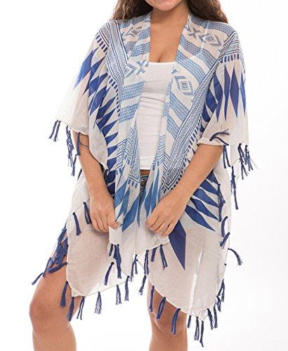 J Fashion Accessories Women's Fashion Swimwear Cover-Ups Top Dress Chiffon Kimono Poncho Cardigan with Fringes (292, Aztec Navy)