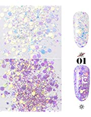 ICYCHEER Mix Shape Glitter Nails Decorative Nail Art Glitter Sequin Powder Shiny Nails Decoration Decals Sparkling Sticker (01)
