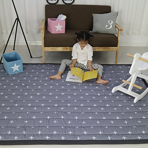 MAXYOYO Play Mat for Kids Baby Infant Crawling Mat Floor Mats for Kids Cartoon Area Rugs for Kids Living Room Carpet Non Slip Rug Washable Carpet, Cross Shape, 55 by 77 Inch