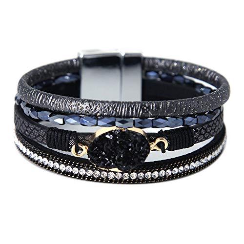 - Black Leather Wrap Bracelet Boho Jewelry Cuff Bracelet Crystal Bead Bracelet Rhinestone Handmade Bangle Braided Magnetic Clasp Bracelet Multi Strand Bracelet for Women Girl Men Valentine's Gift