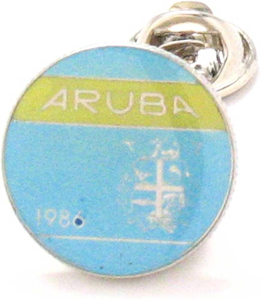 Marcos Villa Aruba Coint Tie Tack Lapel Pin Reversspeldje juwelen Oranjestad Dutch Babijn Touristy Jewelry Souvenir