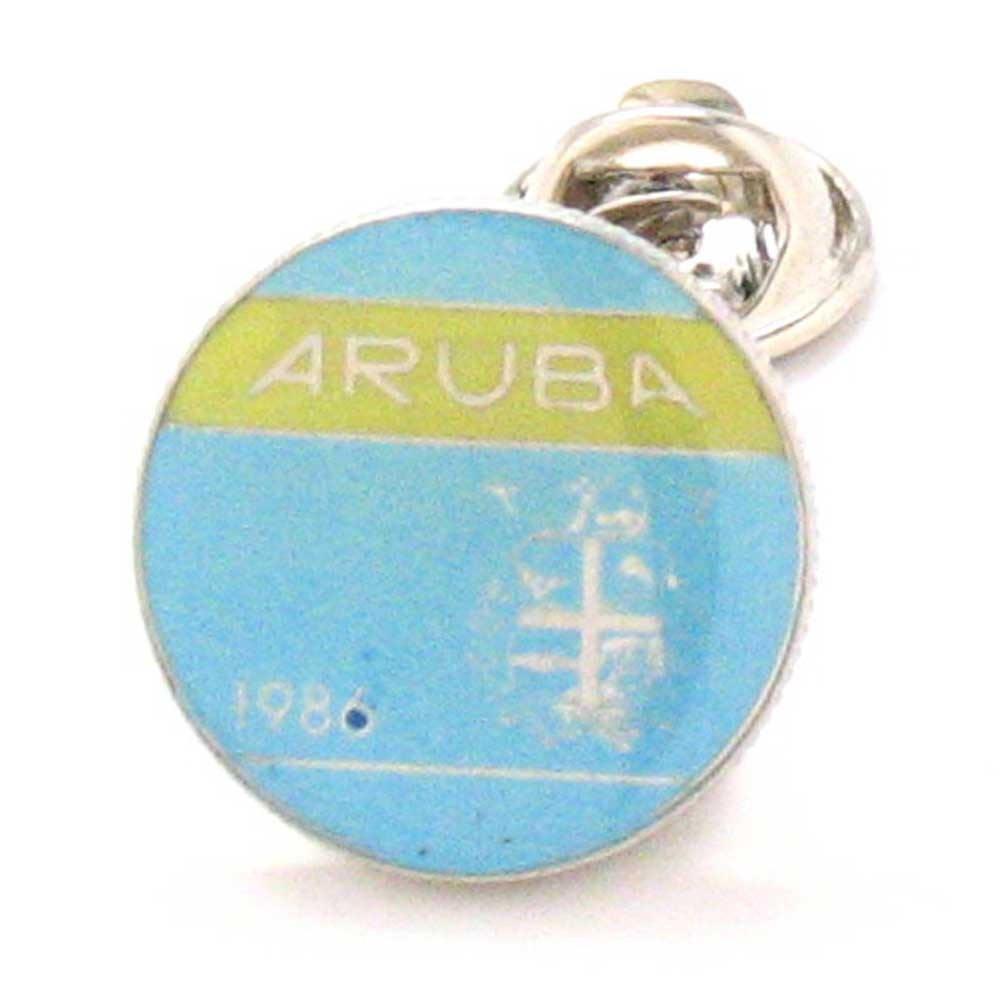 Aruba Coint Tie Tack Lapel Pin Reversspeldje juwelen Oranjestad Dutch Babijn Touristy Jewelry Souvenir