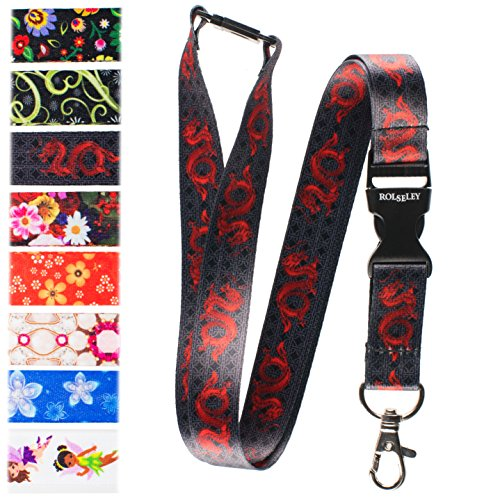 - Beautiful Lanyard neck strap with Red Chinese Dragon pattern with metal clip