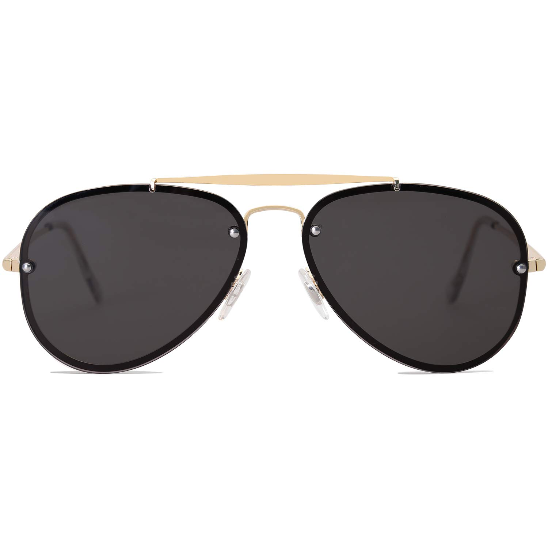 SOJOS Rimless Aviator Sunglasses for Men and Women Metal Frame Mirrored Lens TRENDALERT SJ1105 with Gold Frame/Grey Lens by SOJOS