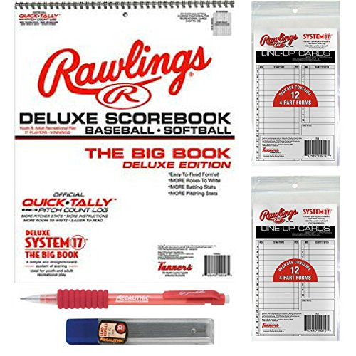 Large Baseball/Softball Scorebook Bundled with 24 Lineup Cards and Pencil With ()