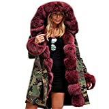 Sumen Women Faux Fur Winter Jacket Parka Hooded Coat Fishtail Overcoat