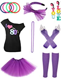 Jetec 80s Costume Accessories Set Necklace Bangle Leg Warmers Earrings Gloves Tutu Skirt T-Shirt for Party Accessory (XL, Set 2)