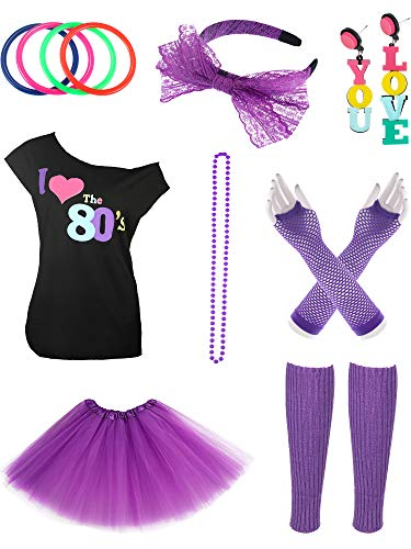 Jetec 80s Costume Accessories Set I Love 80s Skirt Necklace Bangle Leg Warmers Earrings Gloves T-Shirt for Party Accessory (S Size (for 8-10 Years Old Kid), Color Set 9)
