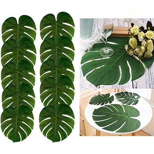 48pcs Large Artificial Tropical Palm Leaves,13.8 by 11.4 inch,Hawaiian Luau Party Jungle Beach Theme Decorations for Table Decoration Accessories]()