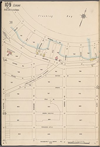 Map Poster - Queens V. 10, Plate No. 109 [Map bounded by Flushing Bay, Gilroy Ave., Roosevelt Ave., Peartree Ave.] 18