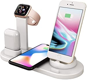 Charging Dock Stations   4-In-1 Charger Stand Wireless Charging Station for Multiple Devices Multi-Device Charger for Apple Product iPhone Se 2020/11/11 /XS/8 Samsung Galaxy S20 AirPods iWatch (White)