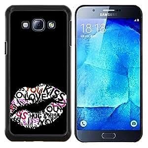 TECHCASE---Cubierta de la caja de protección para la piel dura ** Samsung Galaxy A8 ( A8000 ) ** --Beso Labios Hug miel Sexy Negro