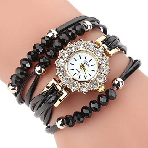 Price comparison product image BCDshop New Women Watches Flower Fashion Quartz Wristwatch Luxury Dress Gemstone Bracelets With Watches Gift (Black,  NA)
