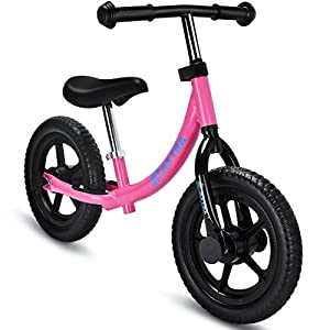 Maxtra Light Weight Adjustable Kids Balance Bike No Pedal Push Bicycle For Ages 2 to 5 Years Pink