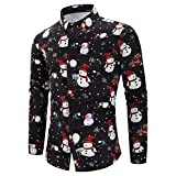 Paymenow Clearance Men Casual T-Shirt Long Sleeve Christmas Snowman Button Shirts Business Fit Blouse Tops