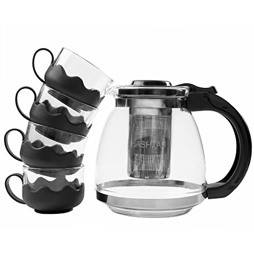 Hashtagg Tea Set – Stylish Glass Teapot with Removable Stainless Steel Infuser + 4 Cups – Strong Plastic Handle & Lid for Comfortable and Safe Use – 1200ml (40.6oz)