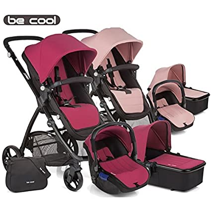 Be Cool - Coche de paseo trío slide 3 top malva/rosa/negro ...