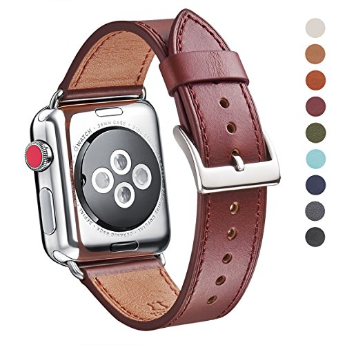 WFEAGL Compatible iWatch Band 42mm 44mm, Top Grain Leather Band Replacement Strap for iWatch Series 4,Series 3,Series 2,Series 1,Sport, Edition (42mm 44mm)