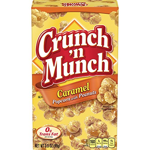 CRUNCH 'N MUNCH Caramel Popcorn with Peanuts, 3.5 oz. (Pack of 12) ()