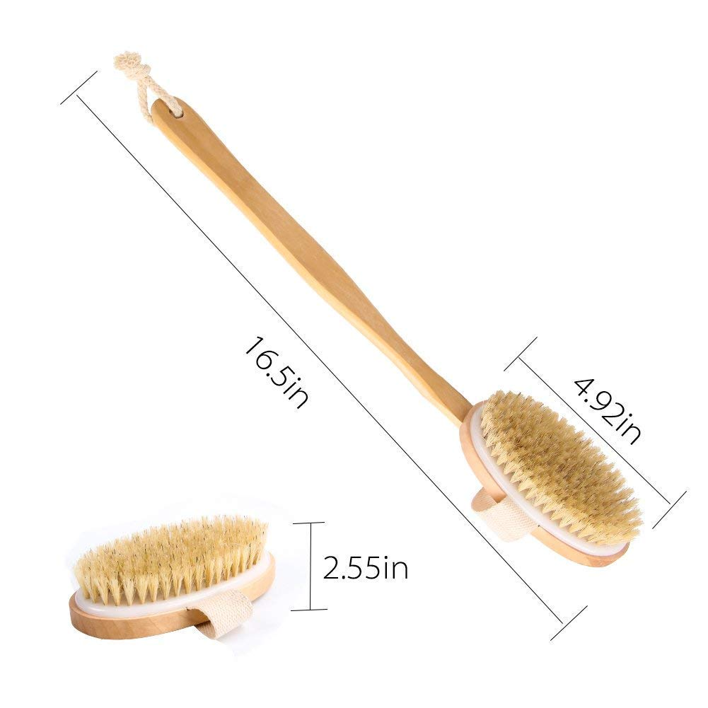 Brosse de Bain, SUAYLLA Naturel Sanglier Soies Douche dos Epurateur avec Longue 43cm(17\