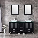 BATHJOY 60' Black Double Wood Bathroom Vanity Cabinet and Square Ceramic Vessel Sink w/ Mirror Faucet Combo