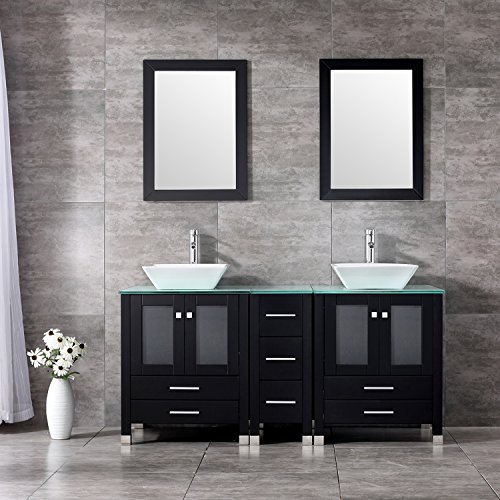 BATHJOY 60'' Black Double Wood Bathroom Vanity Cabinet and Square Ceramic Vessel Sink w/ Mirror Faucet Combo by BATHJOY